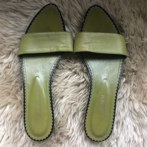 6c2d86e96416 Yves Saint Laurent Shoes - Yves Saint Laurent Paris green wooden sandals